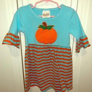 Fall, pumpkin toddler dress. Smocked Auctions